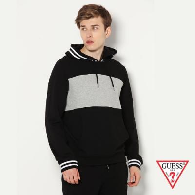 GUESS-男裝-撞色素面刺繡LOGO長袖帽T-黑 原價2990