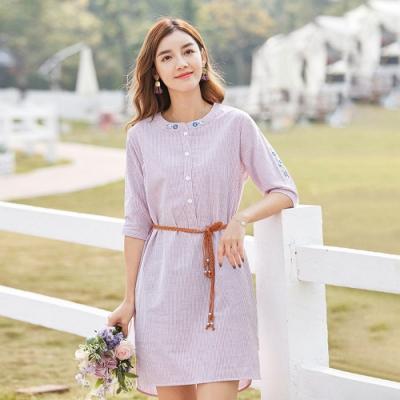 ALLK 附腰帶條紋洋裝 粉色(尺寸L-XXL)