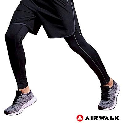 【AIRWALK】男款運動緊身長褲-黑