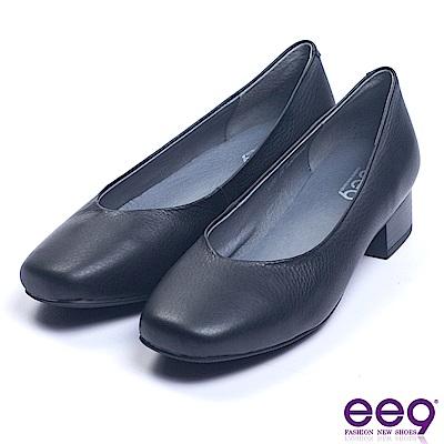ee9 質感簡約經典簡約百搭素面粗跟鞋 黑色