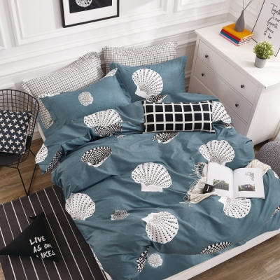 A-ONE 100%純棉-黑白E系列-加大床包/枕套組-海邊走走