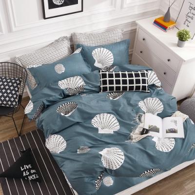 A-ONE 100%純棉-黑白E系列-加大床包/被套組-海邊走走