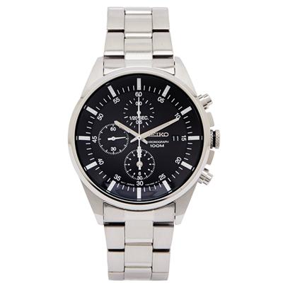 SEIKO 簡約時尚計時手錶(SNDC81P1)-黑面x銀色/40mm