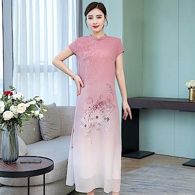 中國風亮麗改良復古旗袍洋裝L-4XL(共兩色)-REKO