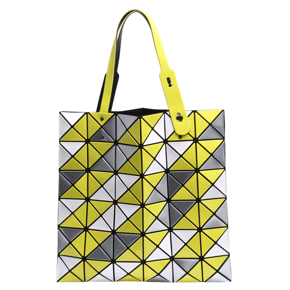 ISSEY MIYAKE 三宅一生BAOBAO三色拼接幾何方格6X6手提包(芥末黃)