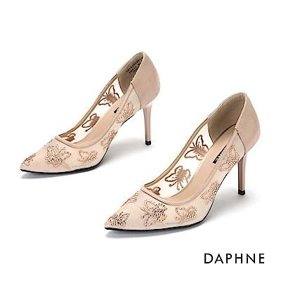 達芙妮DAPHNE 高跟鞋-異材質拚接透膚網紗晶鑽尖頭高跟鞋-杏色