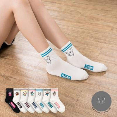 阿華有事嗎 韓國襪子   雙條紋蠟筆小新中筒襪 韓妞必備長襪 正韓百搭純棉襪