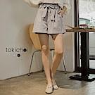 東京著衣 高腰條紋氣質款綁帶短褲-S.M(共二色)
