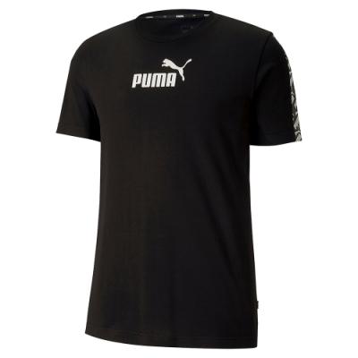 PUMA-男性基本系列Amplified短袖T恤-黑色-亞規