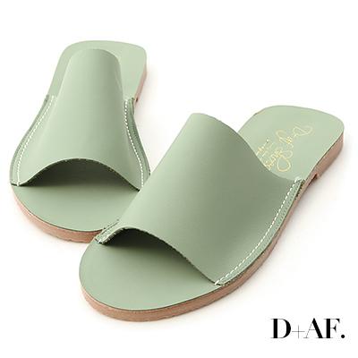 D+AF 愜意搭配.寬版一字超軟平底拖鞋*綠