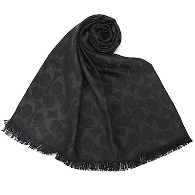 COACH 經典滿版LOGO羊毛混絲針織披肩圍巾-黑色COACH