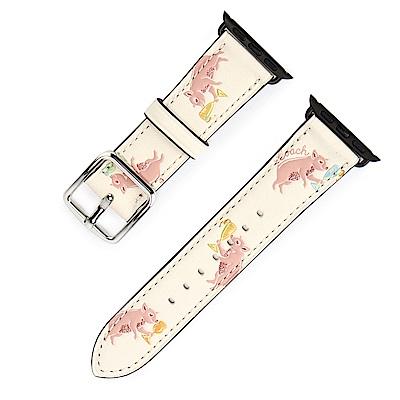 COACH 可愛滿版小豬圖案 PVC皮革APPLE WATCH專用錶帶-白/粉紅色