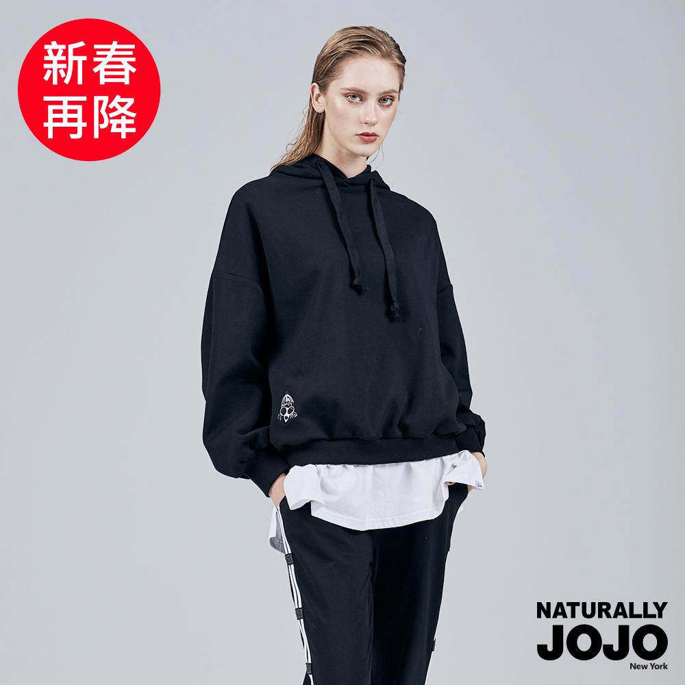 【NATURALLY JOJO】  原創喬女假兩件帽T (黑)