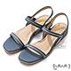 DIANA 2.5cm 質感牛皮方頭金屬幾何飾釦一字露趾涼鞋-淺藍 product thumbnail 1