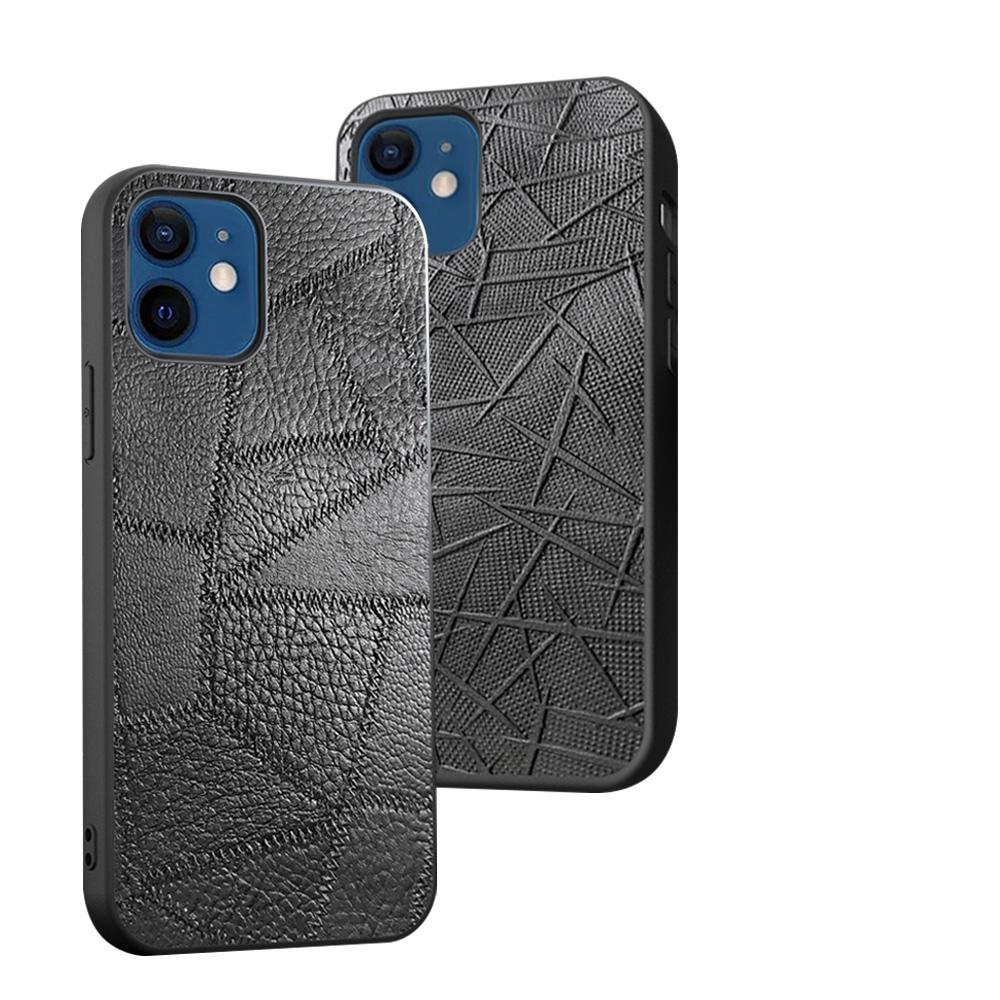 iPhone 12 黑色 雕花纹路 四邊 防摔 軟邊 手機殼 車線格 (iPhone12手機殼 iPhone12保護殼 )