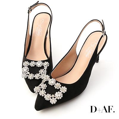 D+AF 華麗指標.水鑽飾釦後空尖頭高跟鞋*黑