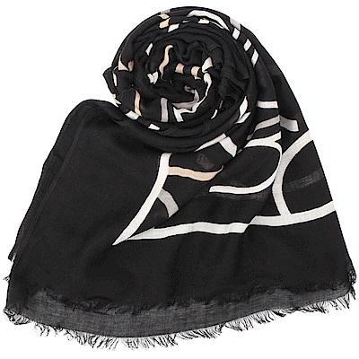 Calvin Klein 滿版LOGO絲質披肩圍巾-黑/白