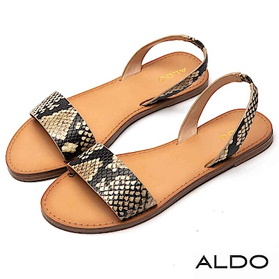 ALDO 原色真皮寬版一字拉帶式平底涼鞋~個性蛇紋