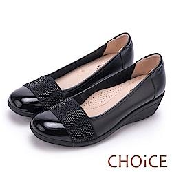 CHOiCE Q軟舒適優雅 質感牛皮水鑽坡跟鞋-黑色