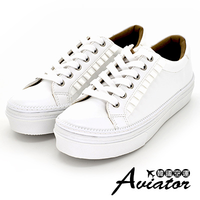 Aviator*韓國空運-正韓製荷葉壓摺花邊厚底綁帶休閒鞋皮革小白鞋-白