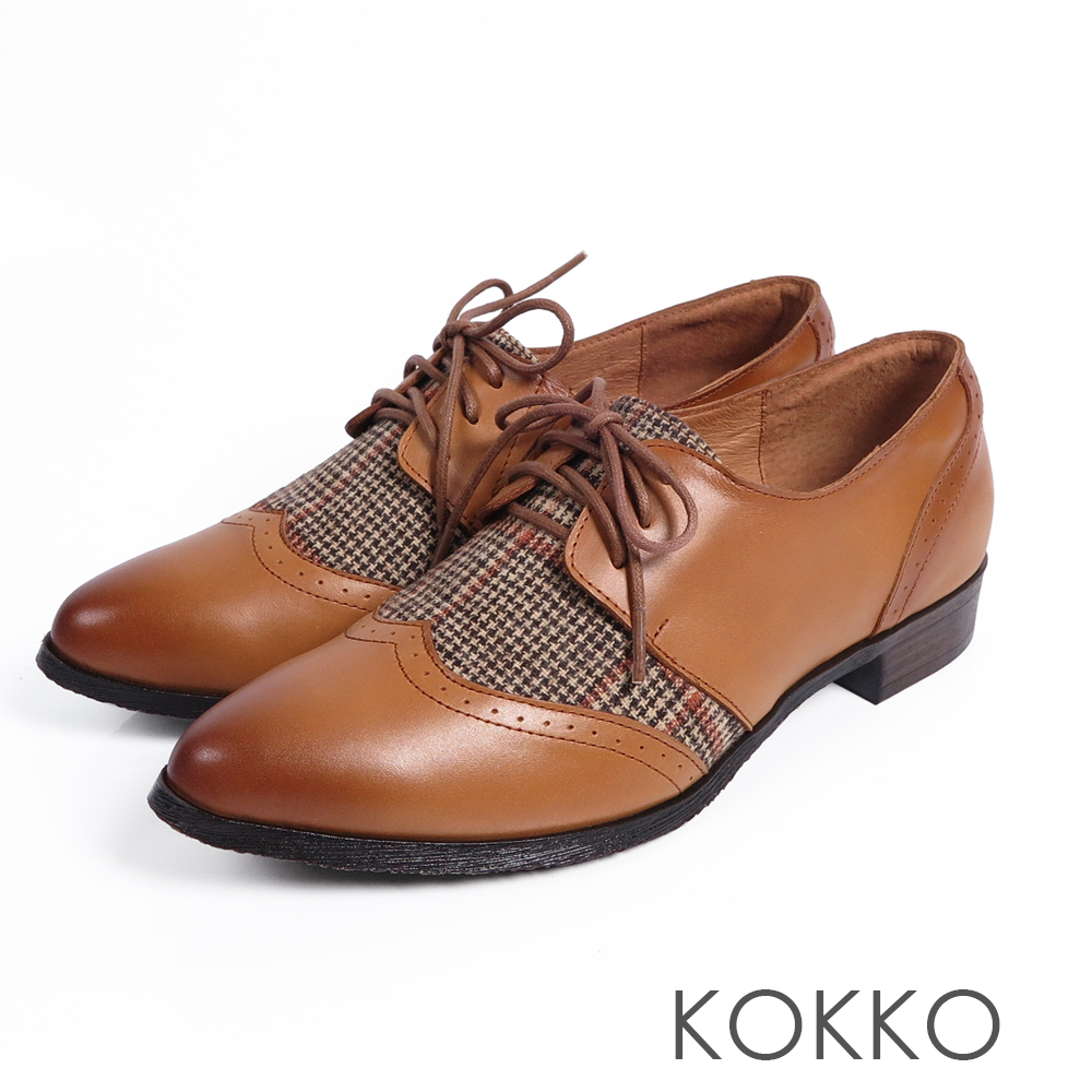KOKKO -英式伯爵格紋毛呢經典牛津鞋-可頌咖色
