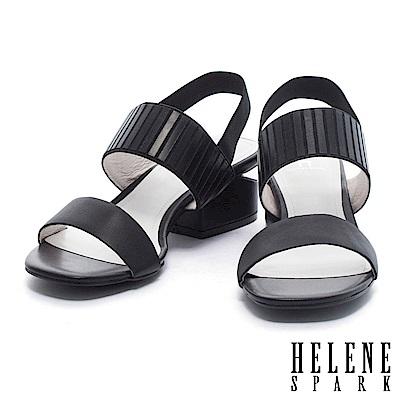 涼鞋 HELENE SPARK 個性異材質設計雙字帶繫帶牛皮高跟涼鞋-黑