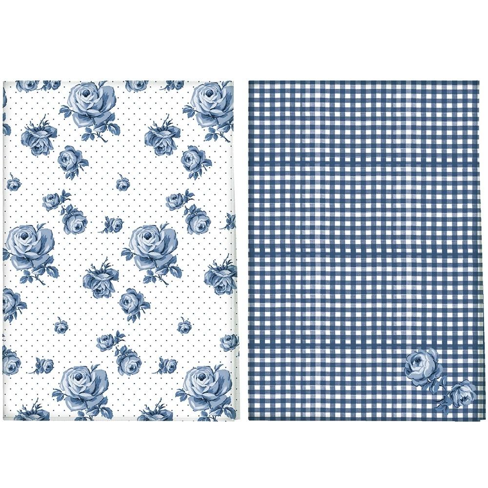 《CreativeTops》Katie復古藍純棉布巾2入