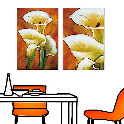 橙品油畫布 二聯 時尚無框畫掛畫-海芋花卉 40x60cm