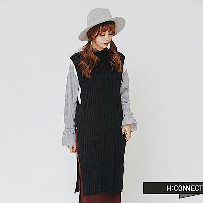 H:CONNECT 韓國品牌 女裝-側開岔長板針織背心-黑