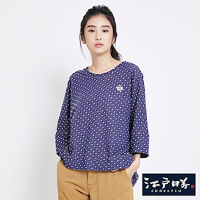 EDWIN EDOKATSU江戶勝 水玉點點寬版T恤-女-藍紫色