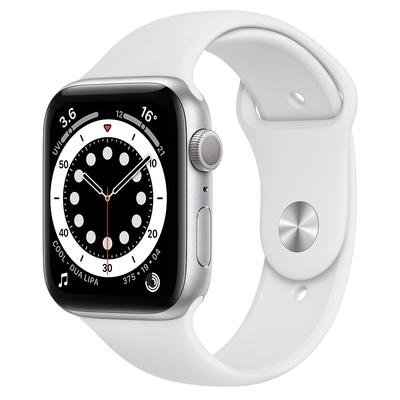 Apple Watch Series 6 (GPS) 44mm 銀色鋁金屬錶殼+白色錶帶(M00D3TA/A)