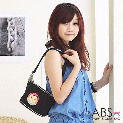 ABS貝斯貓 可愛餅乾貓咪拼布側背 肩背包(百搭黑)88-119
