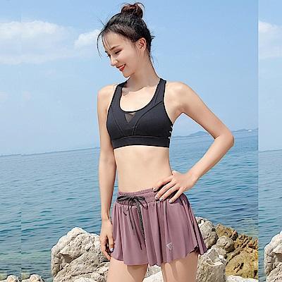 Biki比基尼妮泳衣   中紗菲姬泳衣二件式泳裝(黑衣+芋裙M-XL)