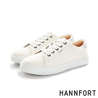 HANNFORT CAMPUS厚底帆布休閒鞋-女-香草白