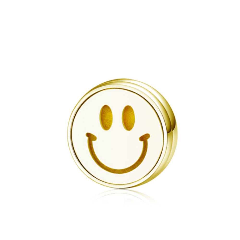 鈦鋼15mm口罩薰香磁扣 金 保持微笑 附棉片 滴瓶 收納盒