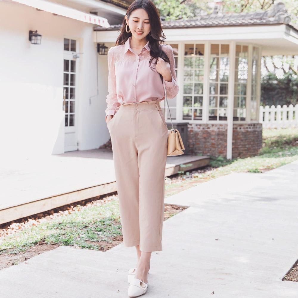 純色打褶收腰西裝九分直筒褲-附腰帶-OB大尺碼