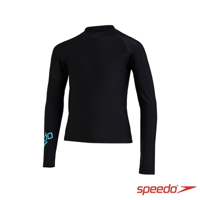 SPEEDO 青少年長袖防曬衣 Boom Logo 黑/藍