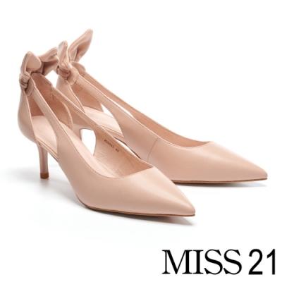 高跟鞋 MISS 21 抓皺立體兔耳簍空設計尖頭羊皮高跟鞋-粉