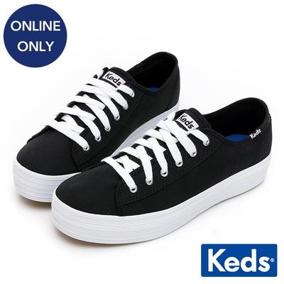 Keds TRIPLE KICK 學院風厚底帆布鞋-黑