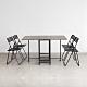 Amos-可延伸折疊收納1+4木板餐桌椅組 product thumbnail 1