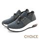CHOiCE 壓釦免綁鞋帶氣墊 女 休閒鞋 藍色 product thumbnail 1