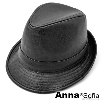 【2件69折】AnnaSofia 率性質感紋皮革 紳士帽爵士帽禮帽(酷黑)