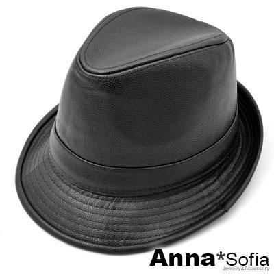 AnnaSofia 率性質感紋皮革 紳士帽爵士帽禮帽(酷黑)