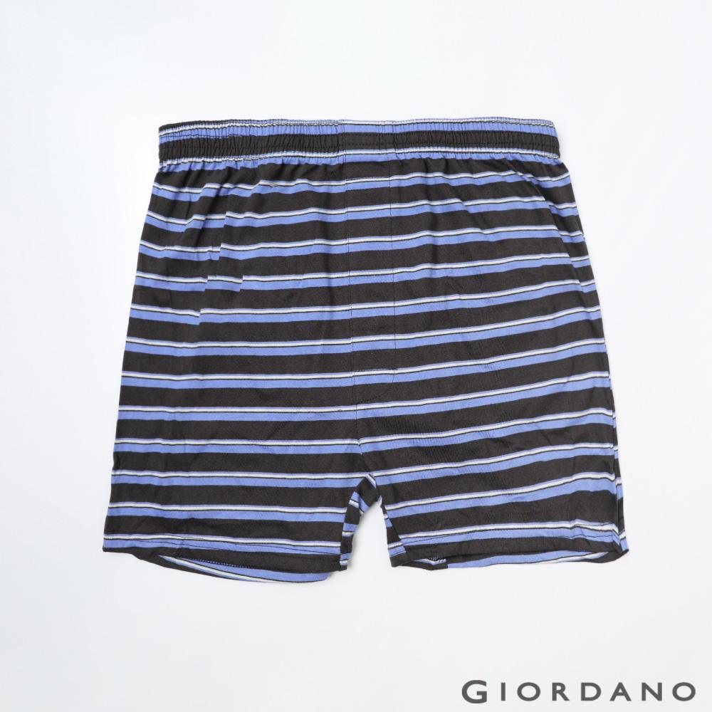 GIORDANO 男裝高品味沈穩條紋配色四角褲-88 黑/紫