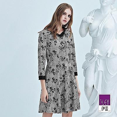 ILEY伊蕾 蕾絲裝飾玫瑰千鳥織紋洋裝(灰)