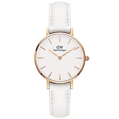DW手錶 官方旗艦店 28mm玫瑰金框 Classic Petite 純真白真皮皮革手錶