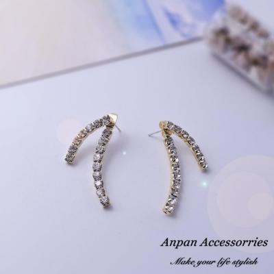 【Anpan 愛扮】韓東大門幾何交叉水鑽前後扣一款兩戴925銀針耳釘式耳環-金