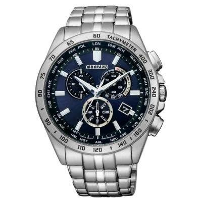 CITIZEN GENT S光動能起程追風計時手錶-銀藏青(CB5870-91L)