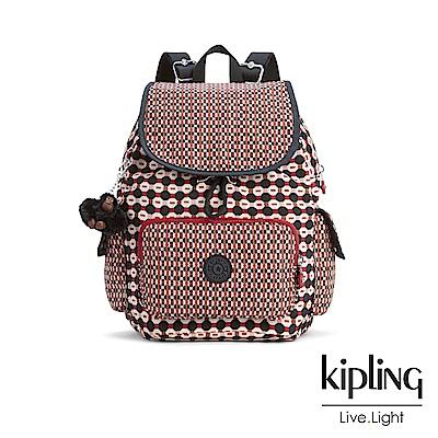 Kipling 紅褐火柴棒幾何圖騰拉鍊掀蓋後背包-CITY PACK S