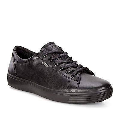 ECCO SOFT 7 MEN S 防水款經典輕巧休閒鞋 男-黑